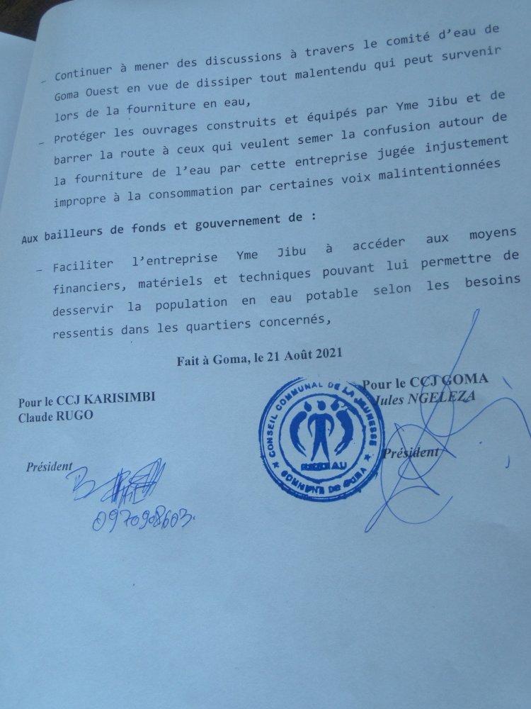 Goma/Eau potable : le gouvernement appelé à aider Yme Jibu