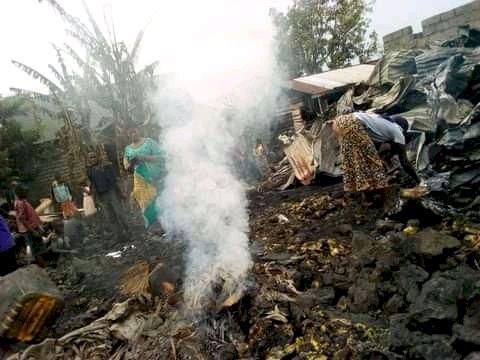 Goma: au moins 7 ménages restent sans abris après un incendie à Kasika.